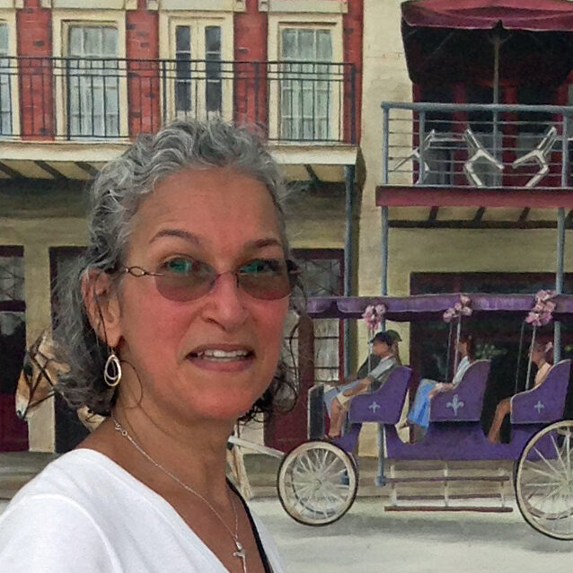 Peggy in Front of the oil painting of Carriage on Decatur Street